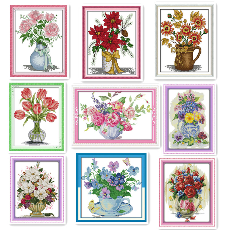 Ten Flower vases Counted Cross Stitch Kit