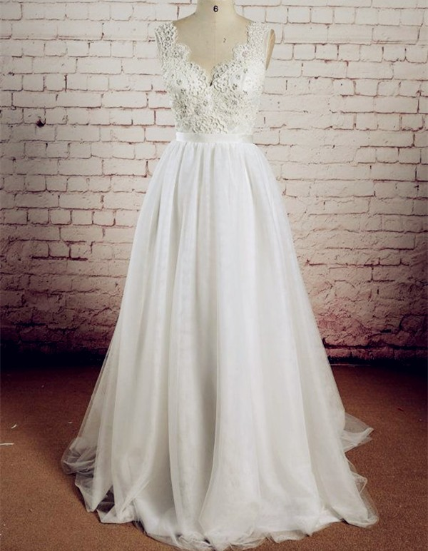 V-Neck Lace Applique Low Back Tulle A-line Wedding Dress 1