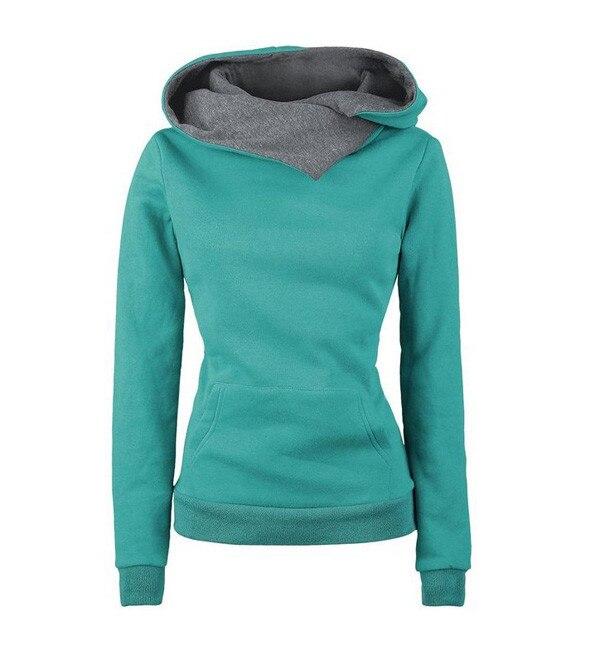 Long Sleeve Solid Hoodies Pullovers With Hat Sweatshirt 2017 Autumn Winter Women Slim Sportwear Front Pocket Design Hoody X0376