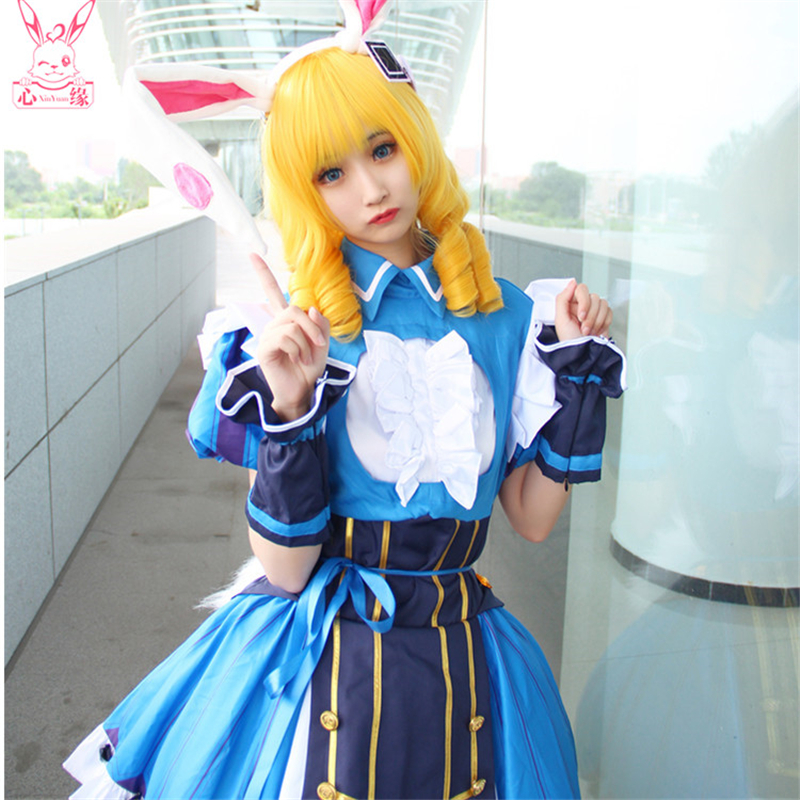 Glory Of King Daji Cosplay Costume Blue Lolita Bublle Dress Rabbit Ears Fox Tail Maid Suit A Home