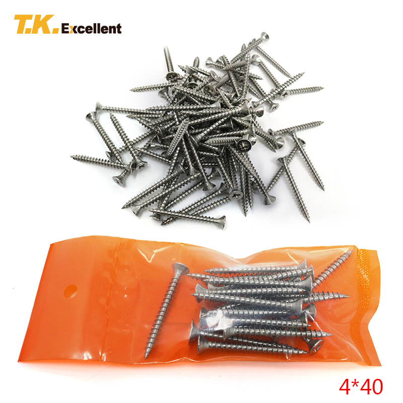 T.K.Excellent 20 Pieces 4*40 CKS Head Pozi Chipboard Fibreboard Screws Stainless Steel Hardware Fasteners Tools Screws t k excellent 2000 pcs fibreboard screws kit flat head q1022 cks head pozi chipboard hardware fastener tools home decoration
