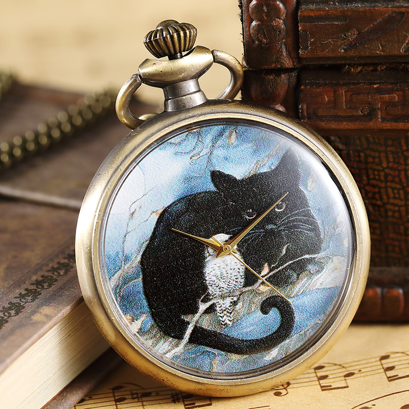 Elegant White Owl and Black Cat Pattern Pocket Watch Women Men Vintage Painted Steampunk Bronze Pocket Watch Necklace Fob Chain wendywu new arrival kids parka fleece children thickteenager outwear boys winter jackets warm hooded cotton padded winter coat b