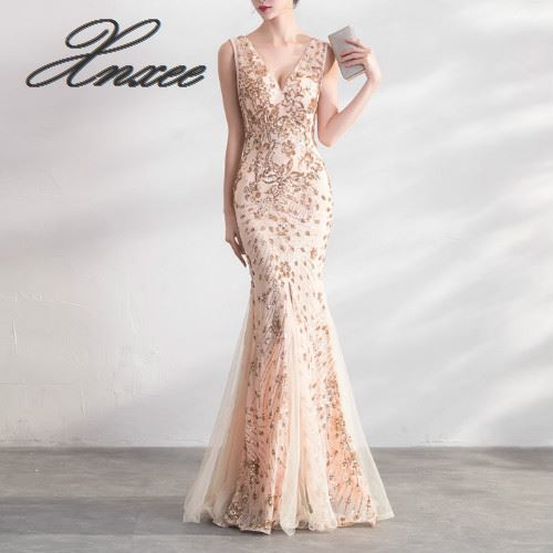 Gold Color Sequin Dresses Long Elegant Party Women Gowns