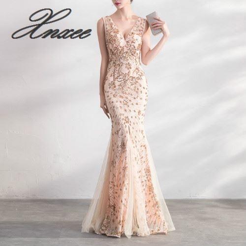 الذهب اللون الترتر فساتين طويلة أنيقة حزب النساء أثواب-في فساتين من ملابس نسائية على  مجموعة 1