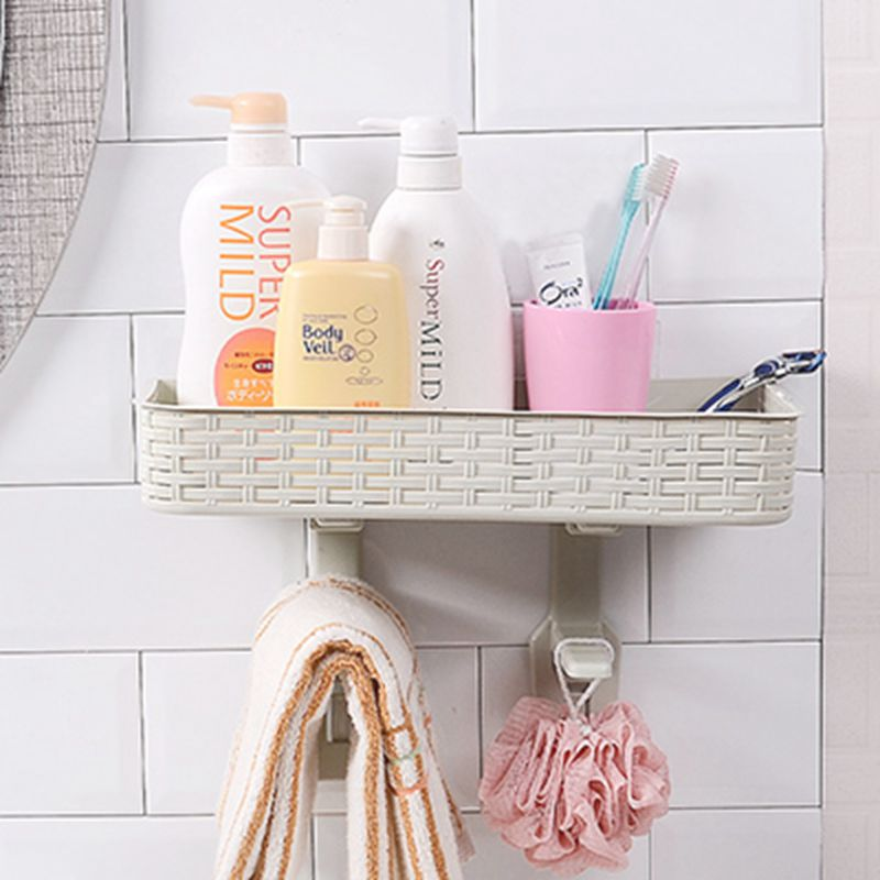 Double-layer imitation rattan made of nail-free storage shelves Toilet cover Bathroom basket