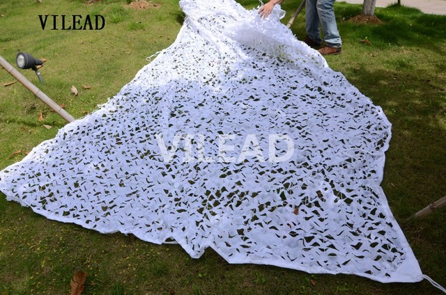 VILEAD 2.5M x 3M (8FT x 10FT) Snow White Digital Camouflage Net Military Army Camo Netting Sun Shelter for Hunting Camping Tent