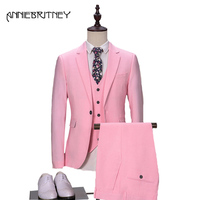 2018 New Brand Hot Pink Men Suits for Wedding Suit for Men 2018 Groom Tuxedo Male Blazer Slim Fit Suit 3 Piece Formal Prom Party