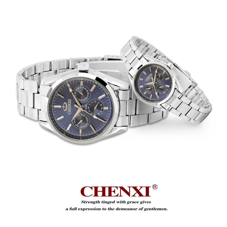 Chenxi Brand Men Lady Stainless Steel Fashion Lovers Quartz Movement Watch Is Waterproof Erkek Kol Saati Relogio Hotel Masculino