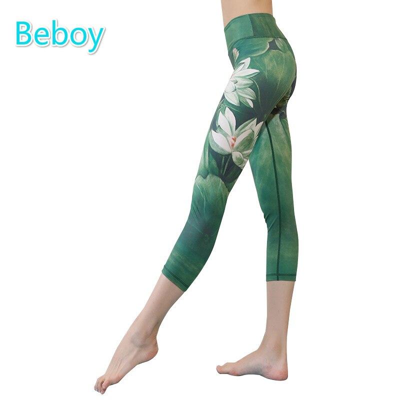 Prix pour Beboy Chinois Style Imprimé Yoga Capri Pantalon Femmes Extensible Taille Haute Yoga Legging Collants de Sport Formation Fitness Leggings