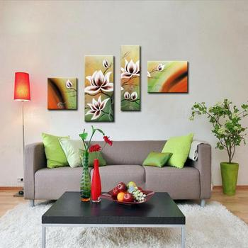 Modern Wall Art Decorative Oil Paintings Abstract White Flower Colorful Background 4 Panel Hand Painted Canvas for Living Room