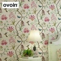Non Woven Modern Butterfly And Birds Flowers Beige Pink Blue Beautiful Garden Floral Wallpaper Wall Paper