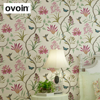 Non Woven Modern Butterfly And Birds Flowers Beige Pink Blue Beautiful Garden Floral Wallpaper Wall Paper