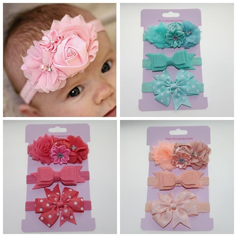 2018 Newborn stain Rose Pearl Lace Flower Hair Accessories Headwear baby rhinestone headband Infant Children Baby Gair Headband