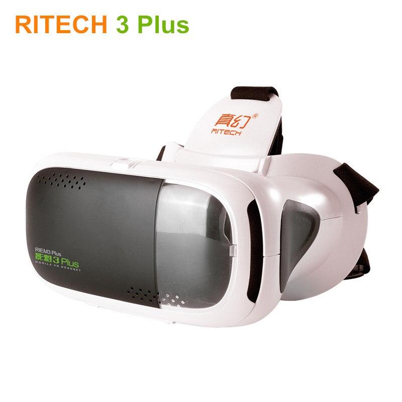 New RITECH III +Virtual Reality 3D Glasses Helmet RIEM 3 Plus VR Headset Head Mount Cardboard for 4.7/5.5-6″ Smart Phone