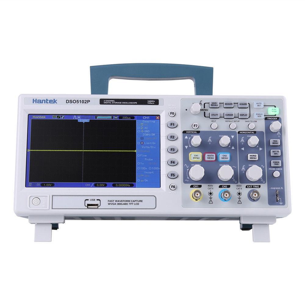 Hantek DSO5102P Digital Storage Oscilloscope 2CH 100 mhz 1GSa/s taux d'échantillonnage En Temps Réel 40 k longueur d'enregistrement Scopemeter 7 pouce RU