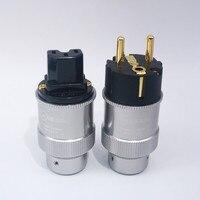 Pair Hi End Kerell Gold Plated EU Power Plug IEC Audio Connector HiFi Brass Ac Power Cord Plugs For Speaker