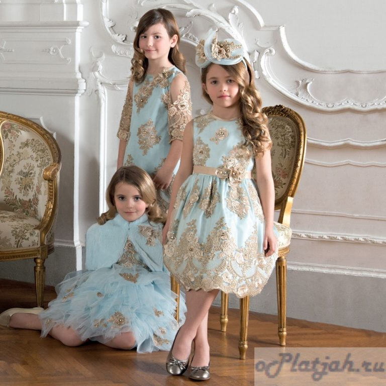 New Luxury Sky Blue Girls Dresses with Champagne Applique Flower Girls Dresses 2017 Custom Made Girls Dress