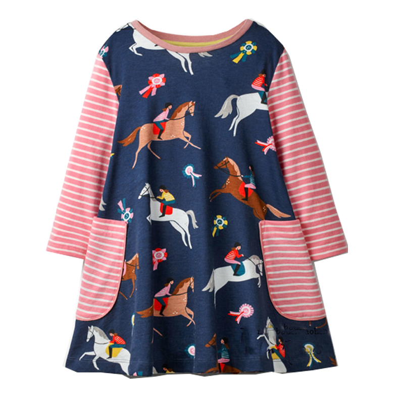 Jumping Meters Unicorn Dress Baby Girl Clothes 2018 Autumn Robe Enfant Fille Long Sleeve Girls Horse Dresses Princess Costume