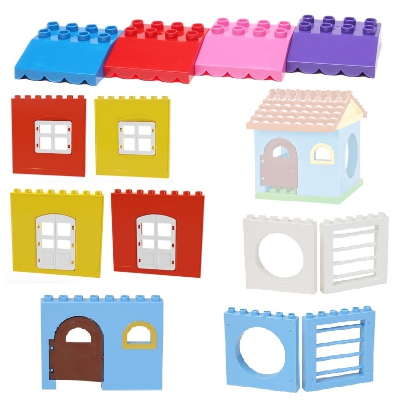 Big Particles Building Blocks Roof wall door window accessory House Set Assemble Bricks Compatible with Duplo Baby DIY Toys gift