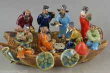 Collectible Handwork Old porcelain carving China 8 immortal on boat statue цена и фото