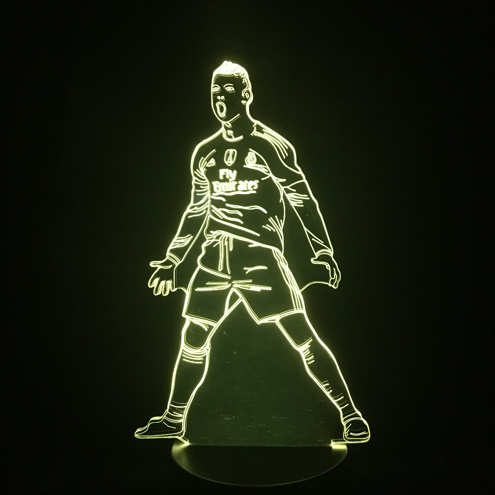 Football Players CR7 LED Illusion 3D Football Table Lamp Home Bedroom Decorative Mood Light Novelty Gifts Dropship