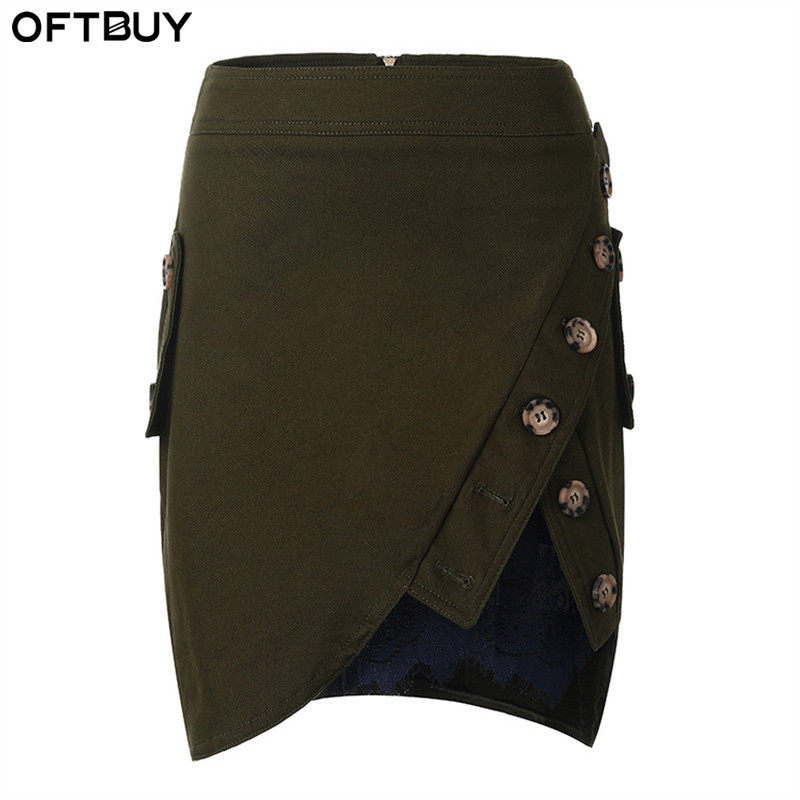 OFTBUY Women skirt 2017 Casual spring summer new Cotton Asymmetrical Patchwork Lace Button Sexy Mini Pencil