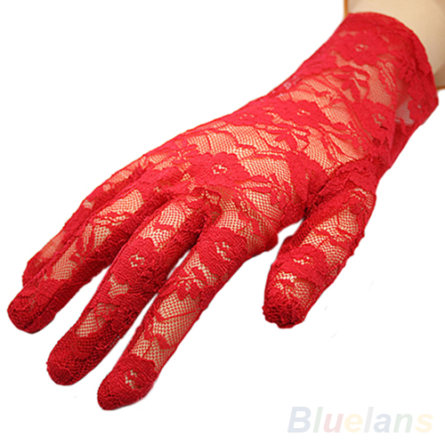 Women's Sexy Black Red White Beige Driving & Evening Lace Gloves