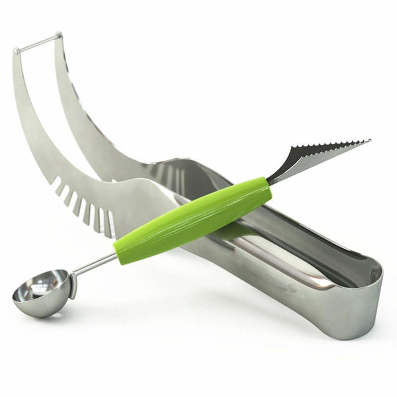 2Pcs-set-Stainless-Steel-Watermelon-Slicer-with-Double-End-Melon-Baller