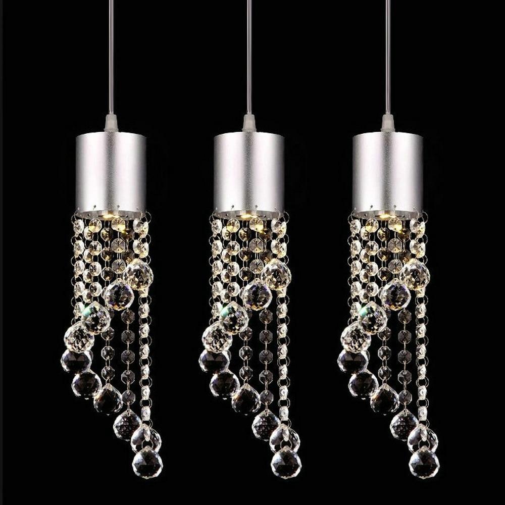 MAMEI Free Shipping Modern Crystal Aluminum Pendant Lamp 3 Light font b Island b font font