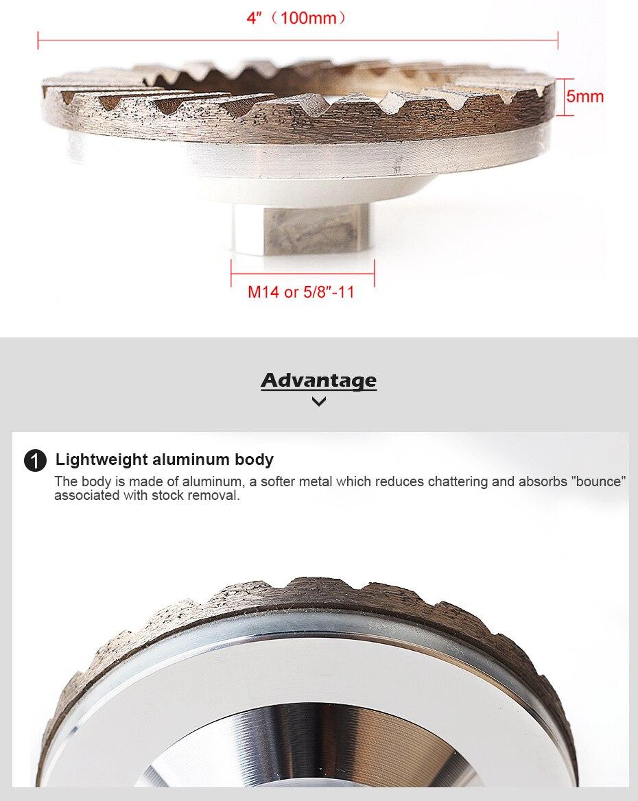 (4 polegada) alumínio backer diamante moagem rodas para pedra de moagem
