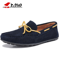 2017 New Brand PU Suede Leather Boat Shoes Blue Brown Lace Up Flats Casual Shoes Size