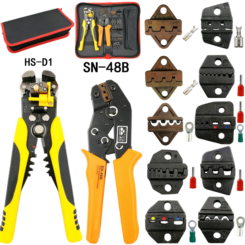 SN-48B crimping pliers 10 jaws for TAB 2.8 4.8 6.3/C3 XH2.54 3.96 2510/tube/non insuated terminals electrical clamp kit tools