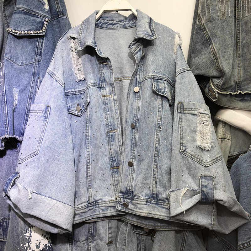Cowboy Mantel Weibliche 2019 Frühling Herbst Lose BF Jeans Jacke Frauen Loch Heiße Bohren Denim Jacken Outwear Damen Basic Mäntel