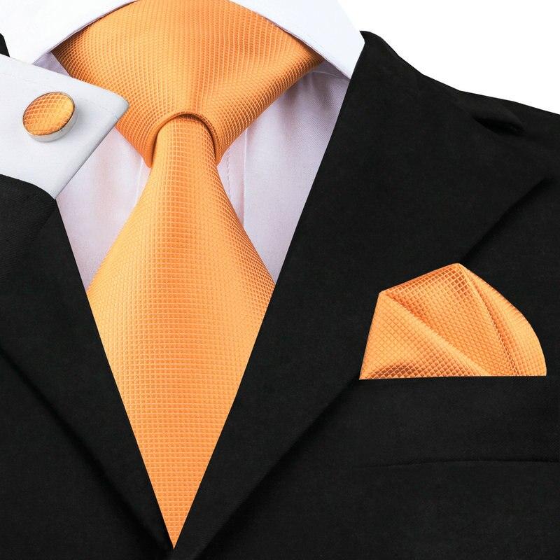 2016 Fruits D'été Frais Couleur Orange Cravate En Soie Pour la Datation De Noce Cravate Hanky Boutons de Manchette Set C-356