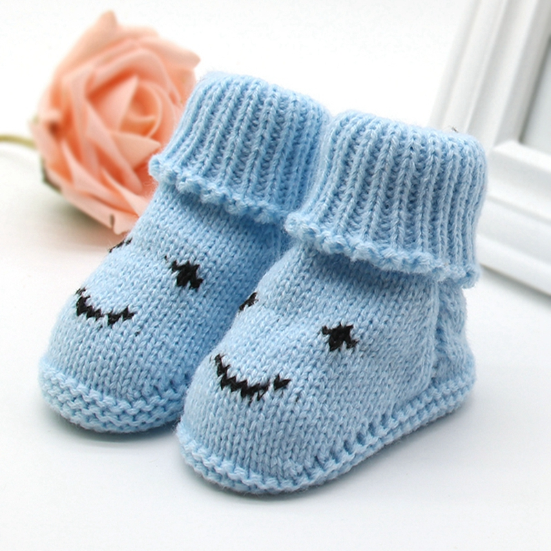 Autumn Winter Baby Snow Boots Knitted Wool Thicken Warm Infant Baby Shoes Footwear