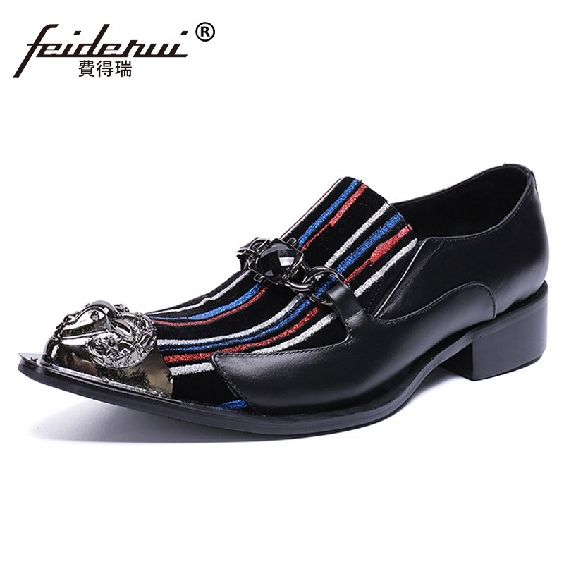 Plus Size Formal Pointed Toe Slip on Man Dance Loafers Genuine Leather Metal Tipped Handmade Mens Runway Casual Shoes SL443Plus Size Formal Pointed Toe Slip on Man Dance Loafers Genuine Leather Metal Tipped Handmade Mens Runway Casual Shoes SL443
