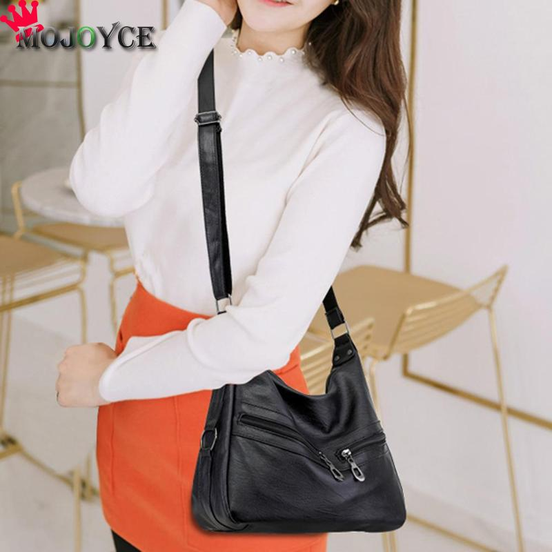 MOJOYCE Vintage Female Bag Women Hobos Handbags Zipper Soft PU Leather Shoulder Crossbody Bag Office Ladies Bag Solid Color Tote 2
