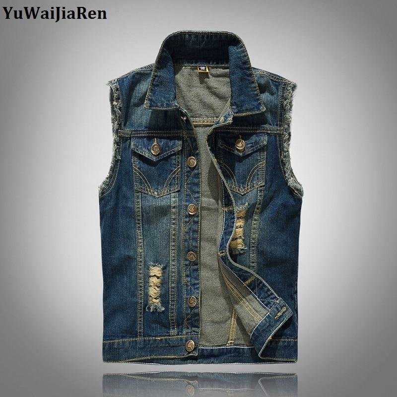 YuWaiJiaRen Brand Fashion Mens Denim Vest Vintage Sleeveless Washed Jeans Waistcoat Man Cowboy Ripped Jacket Plus Size 6XL