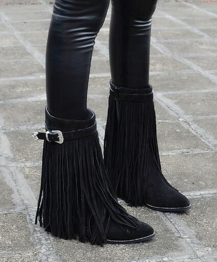 Pelle opaca vintage sfregamento lungo nappa stivali fibbia lungo nappa stivaletti marrone in pelle nera in magazzino - 4