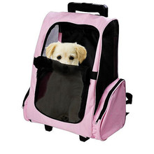 Pet Carrier Dog Backpack Travel Bags Car Seat For Medium Pets Animals Strollers Carts Luggage Box With Wheels Pink