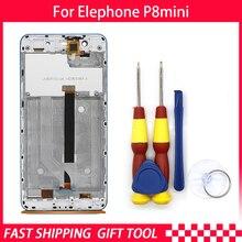 Tela de reposição para elephone p8, mini touch screen, digitalizador, montagem com moldura azul, peças de reposição p389bf p389cf
