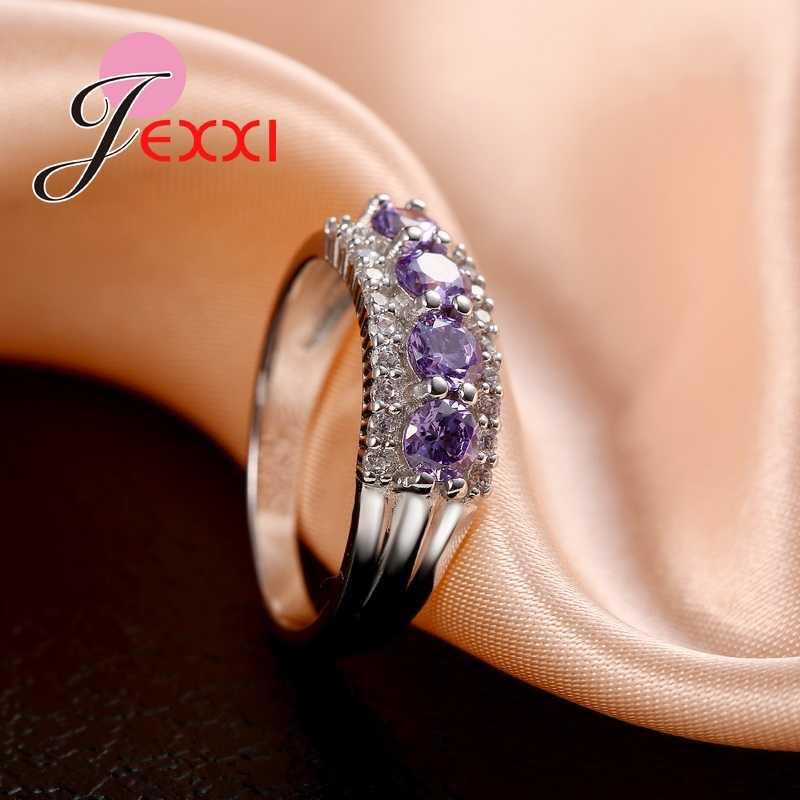 ล่าสุด AAA CZ สีม่วงคริสตัล CZ งานแต่งงานแหวนแฟชั่นเครื่องประดับ 925 เงินสเตอร์ลิงแหวนหมั้น