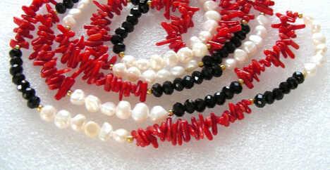 """Jewelr 005005 50 """"красный коралл & nautral белый жемчуг & Кристалл Ожерелье"""