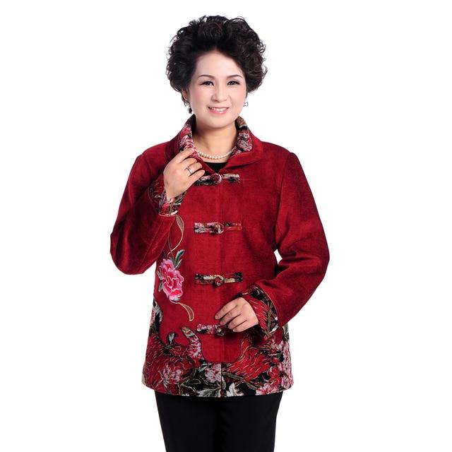 US $43.0  Chinoiserie di Mezza Età Donna Fiore Del Ricamo vestito di Linguetta Cappotto Per Le Donne Anziane Autunno Rosso Nero Verde Outwear Più Il