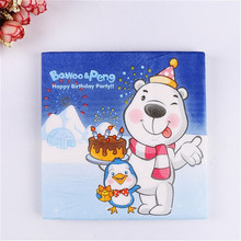 Free Shipping 20Pcs/lot 2-Layer Cute Bawoo & Peng Paper Napkins For Decoupage Birthday Decorations Kids Baby Shower