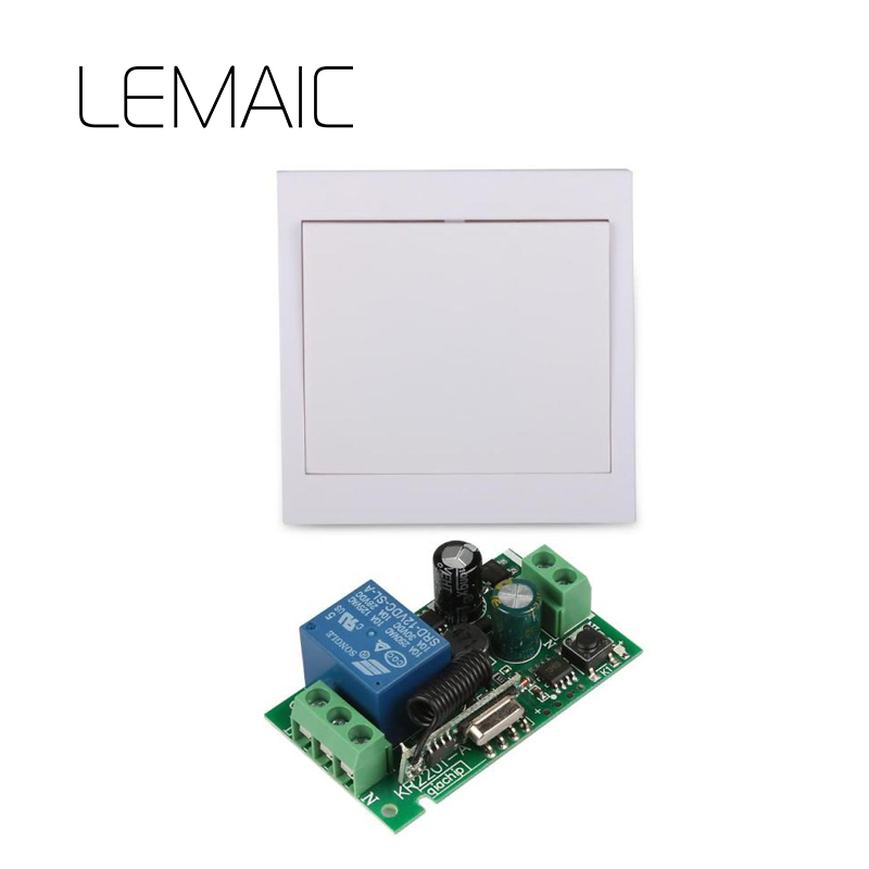 LEMAIC 433 Mhz Wireless RF 86 Wall Panel Remote Transmitter and AC 110V 220V 1CH Remote Control Switch Receiver For Hall Lights 220v 1 ch 1ch rf wireless remote control switch system for led bulb light strips mini receiver 3ch 86 wall transmitter