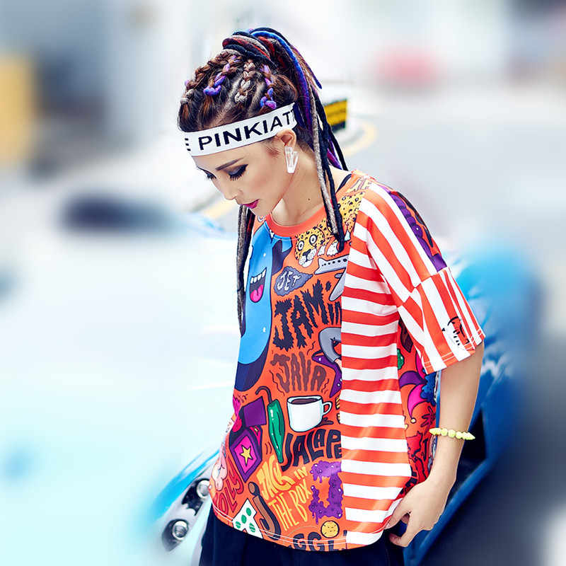 jus.be.never women red graphic tees harajuku korean kawaii white fringe T shirt cartoon letter printed girls summer plus tops