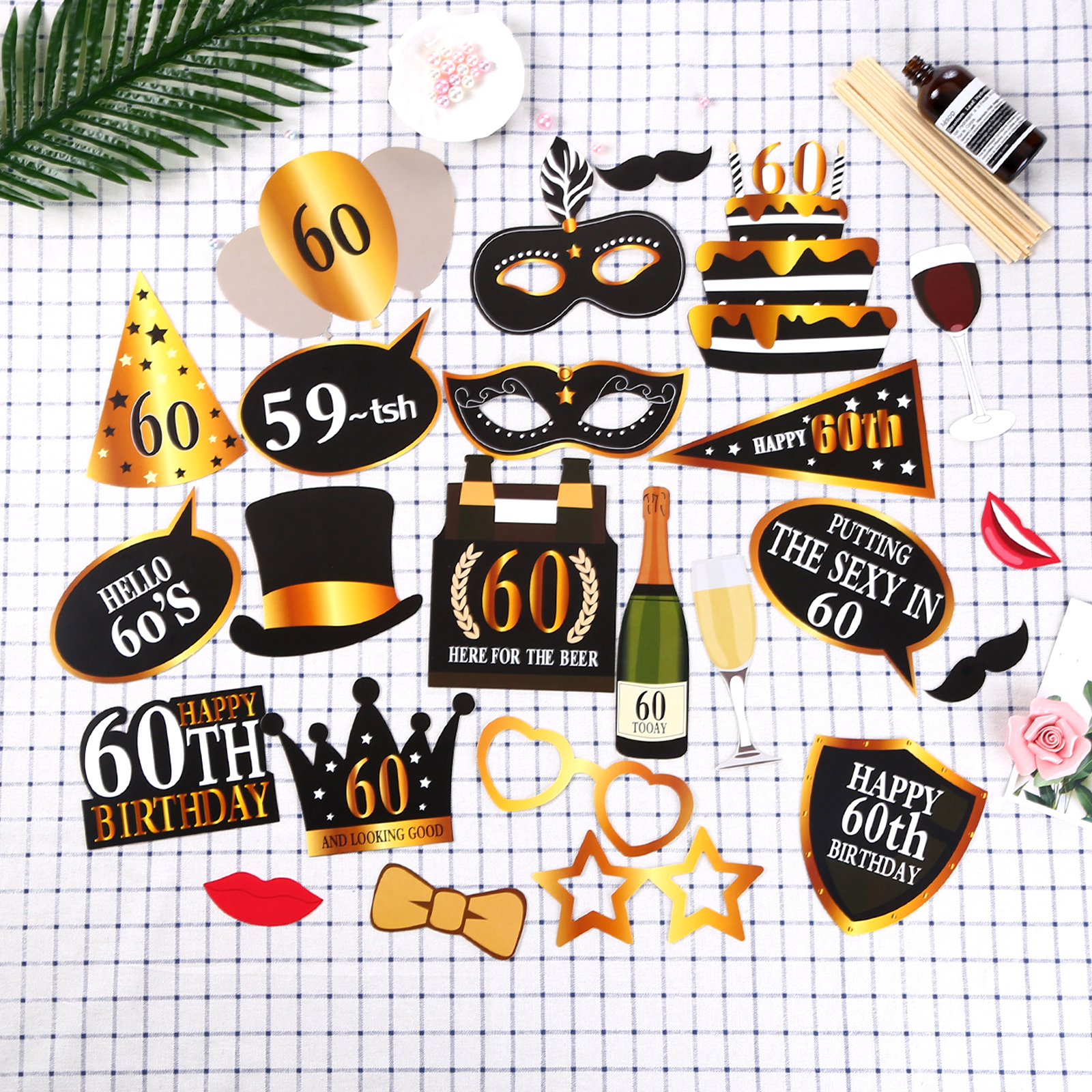 24pcs/set Adult Beard Photo Props Decorations 30/<font><b>50</b></font>/60th Photo Booth Props Wedding <font><b>Anniversary</b></font> Party Black Gold Party Supplies image