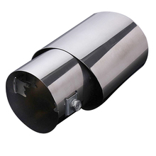 Universal Car Vehicle Exhaust Muffler Steel Tail Pipe Straight Single Tube silver