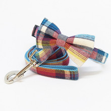 Plaid Dog Collar leash with bow tie set,high quality dog collar, Lover Gift, Pet Collar, Stocking Stuffer, Puppy